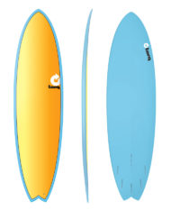 Torq MOD FISH - 7'2'' Full Fade Blue + Yellow Orange